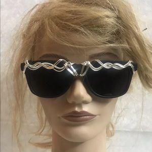 Eko sunglasses wooden frames silver rope embellish